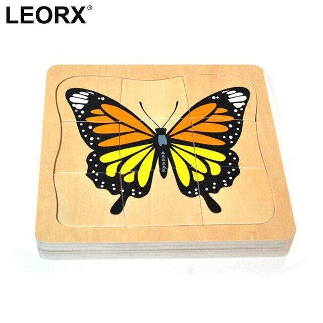 lucu kartun butterfly tumbuh puzzle kayu kecerdasan anak anak bayi pendidikan mainan hadiah asah otak