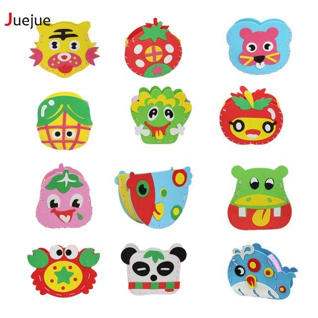 21 desain diy kartun hewan sayuran pot anak tangan mainan eva foam puzzle diy kerajinan untuk