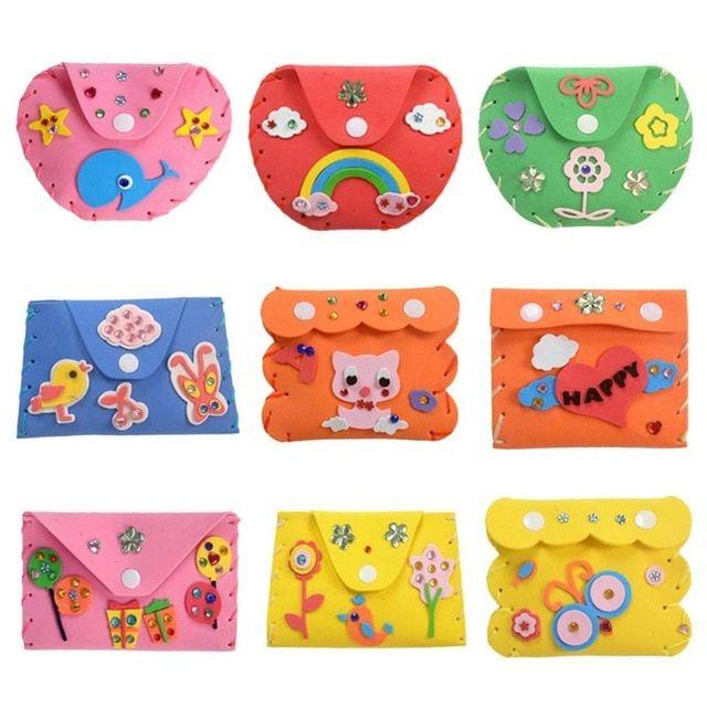 1 pc mainan anak anak diy 3d eva busa stiker kartun dompet dompet anak anak