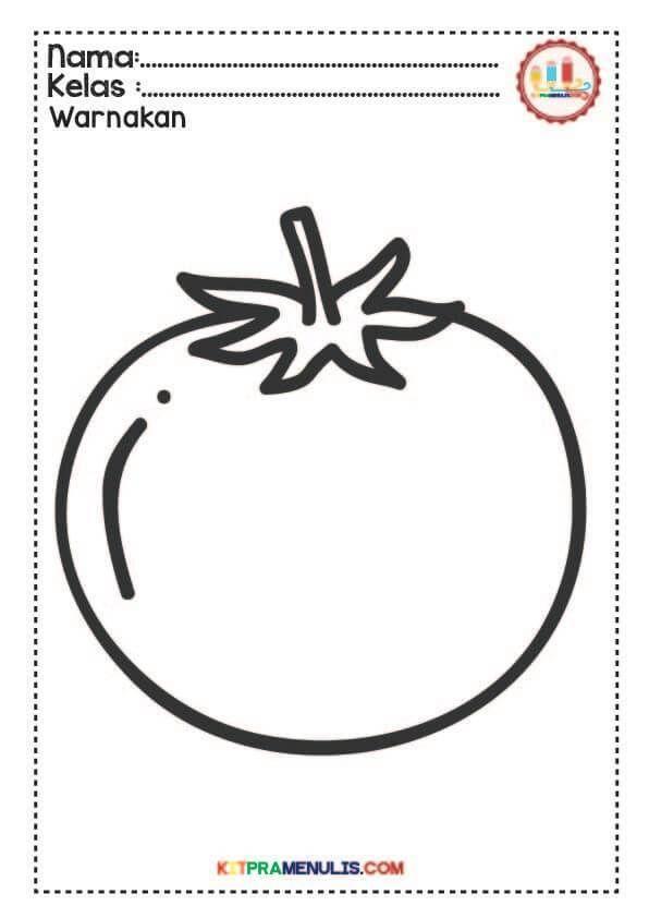 lembaran kerja mewarna buah buahan dan sayur sayuran kitpramenulis