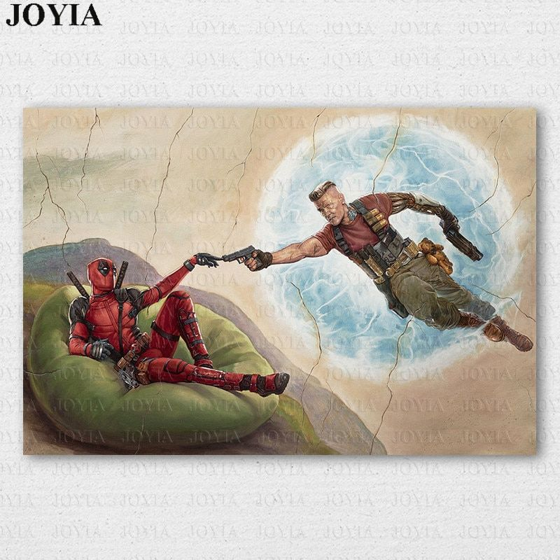 marvel comics deadpool poster movie deadpool 2 cable canvas art prints funny classic picture home room