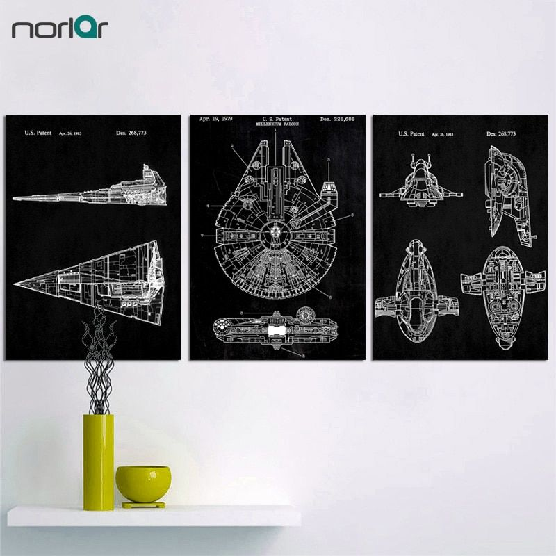 minimalist black and white star wars patent canvas painting poster wall picture art canvas print wall home decor no frame