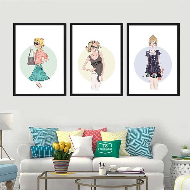 baru desain fashion gadis modern kanvas wall art print lukisan poster a4 gambar dinding untuk kamar