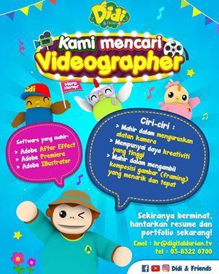 jawatan kosong lokasi cyberjaya hai semua digital durian mencari videographer