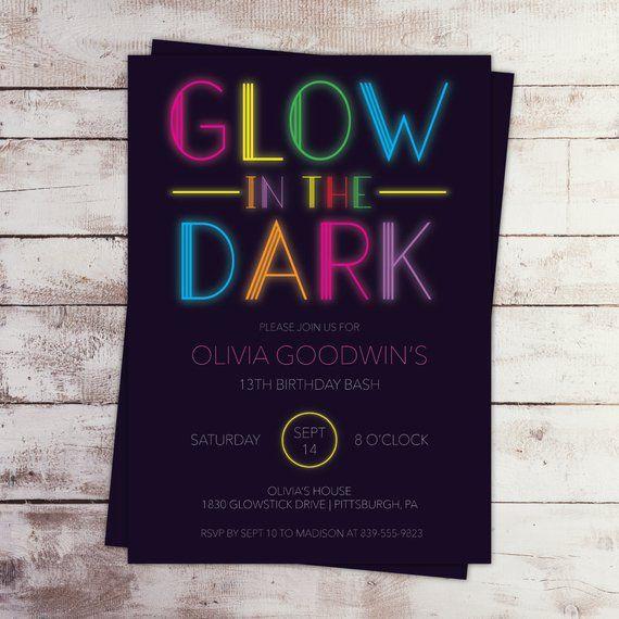 printable glow birthday invitation neon glow in the dark party self edit template