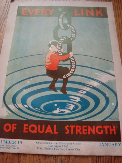 vintage character education poster every link of equal strength 45 00 via etsy