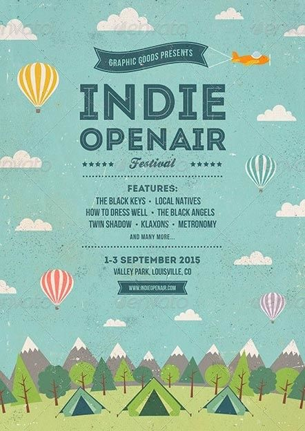 indie open air festival flyer and poster template