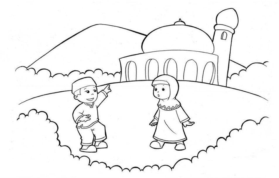 gambar mewarnai anak muslim wallpaper keren