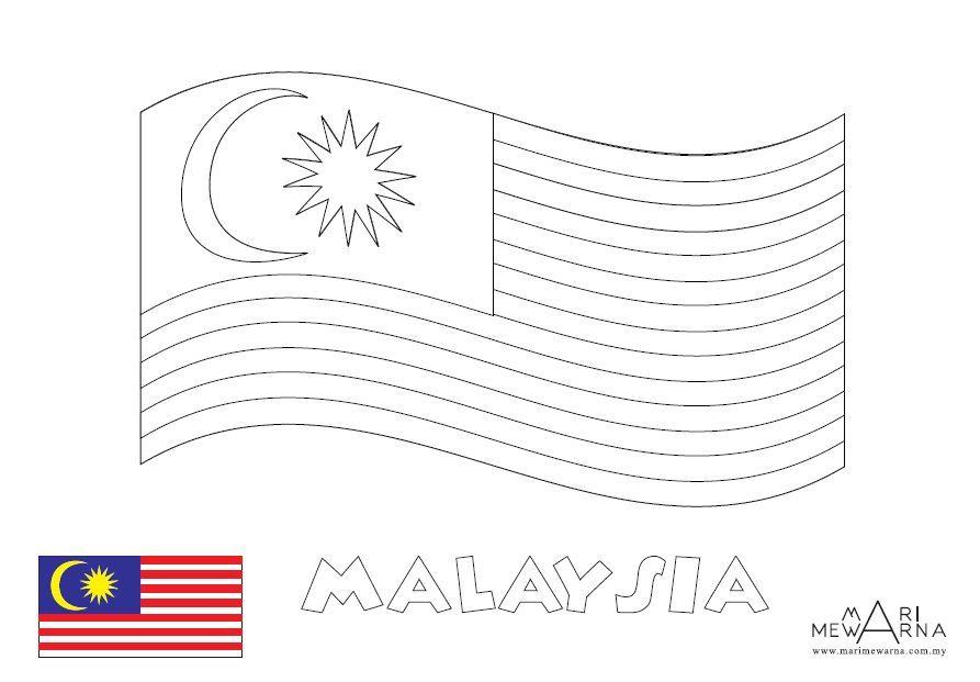 mari mewarna bendera negara malaysia mewarna
