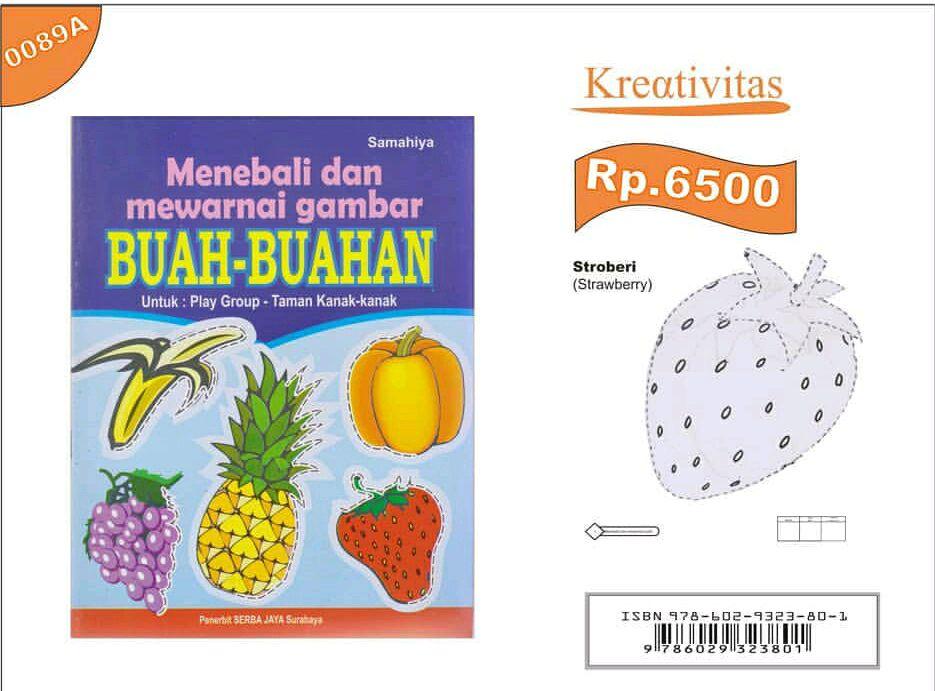 buku anak menebali dan mewarnai gambar buah buahan untuk pg tk serba jaya
