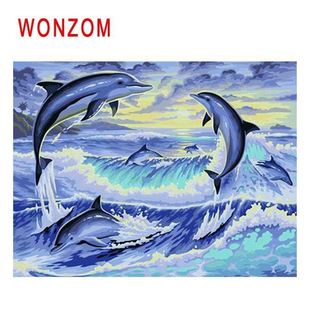 Gambar Hidupan Laut Untuk Mewarna Terhebat Wonzom Lumba Lumba Lukisan Oleh Bilangan Abstrak Lukisan Minyak