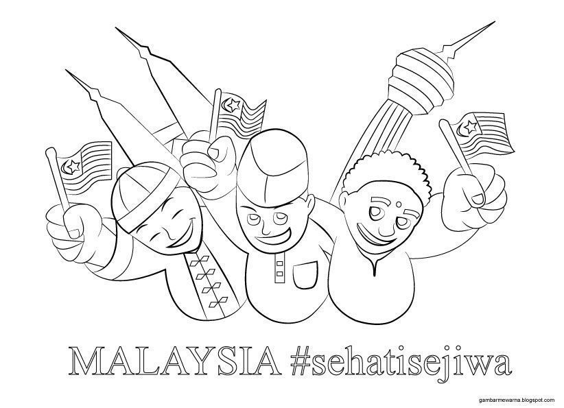 Gambar Lukisan Untuk Pertandingan Mewarna Kanak-kanak Power Himpunan Poster Mewarna Hari Merdeka Yang Meletup Dan Boleh Di