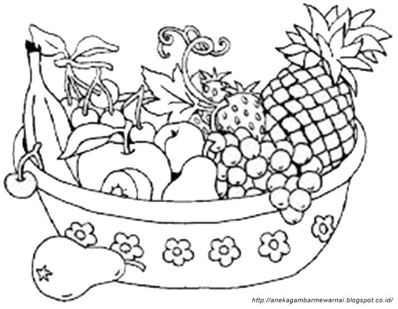 gambar mewarna buahan berguna gambar mewarnai buah buahan dalam keranjang untuk anak paud