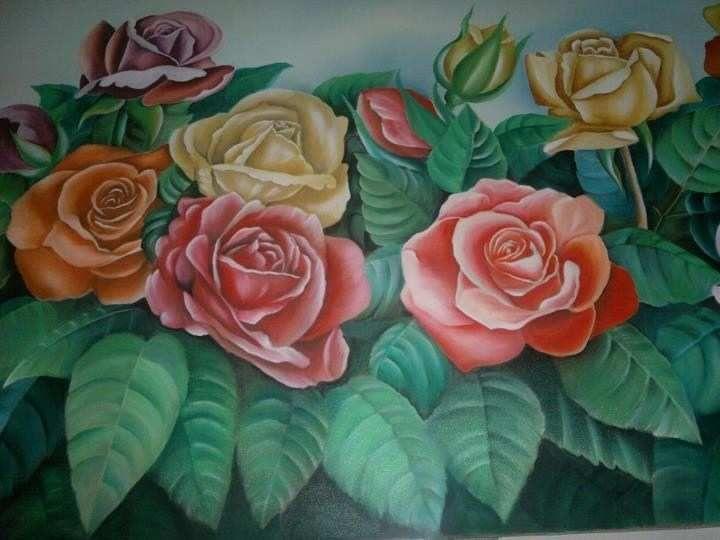 50 contoh gambar lukisan bunga sederhana yang indah di
