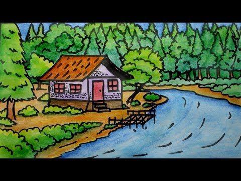 lukisan pemandangan untuk mewarna terbaik cara menggambar pemandangan alam yang mudah youtube