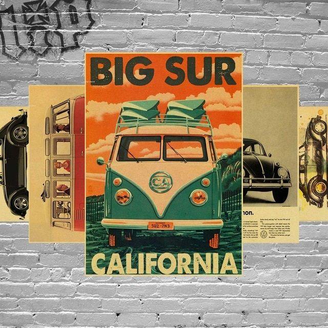 Harga Kertas Lukisan 1 Rim Terbaik Wall Sticker Vintage Tanda Vw Bus Poster Retro Kraft Kertas Dekorasi