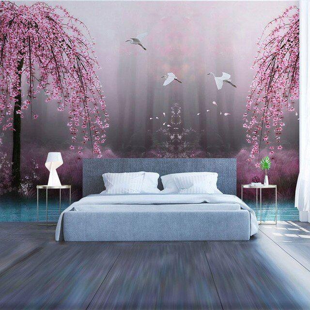 ruang tamu kamar tidur dinding kertas pohon besar air danau lukisan dinding dinding foto kertas mural