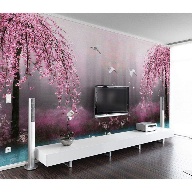 ruang tamu kamar tidur dinding kertas pohon besar air danau lukisan dinding dinding foto kertas mural 3d diri perekat vinyl wallpaper sutra di wallpaper