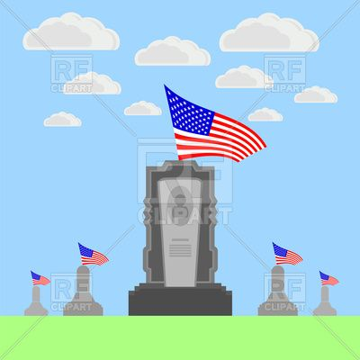 Independence Day Poster Meletup Flag Of Usa Over Gravestone Memorial Day Vector Image Of Objects