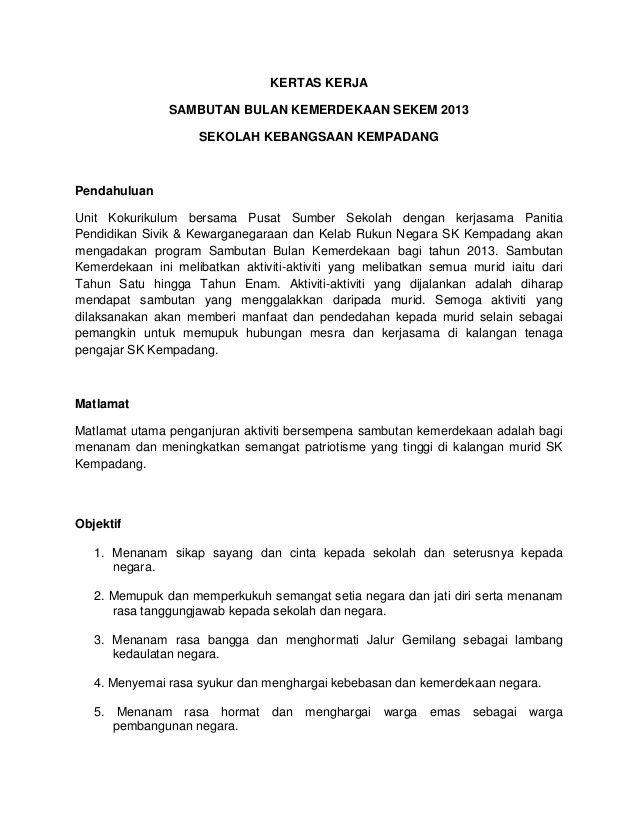 Jalur Gemilang Mewarna Baik Kertas Kerja Bulan Kemerdekaan 2013