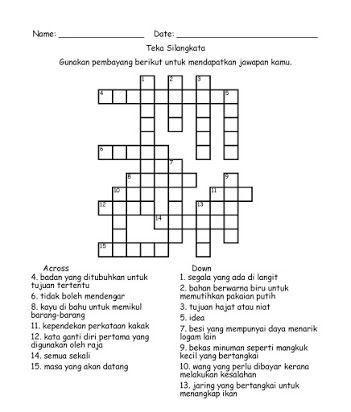 Jawapan Teka Silang Kata Simpulan Bahasa Menarik Bermacam Contoh Teka Silang Kata Dan Jawapan Bahasa Melayu Yang