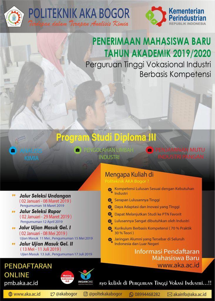 Jenis Poster Menarik Pendaftaran Mahasiswa Baru Politeknik Aka Bogor 2019 2020