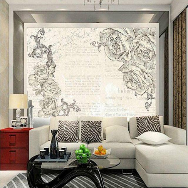 Kertas Kerja Lukisan Mural Terhebat Kustom Klasik Roses 3d Wallpaper Untuk Dinding Perbaikan Rumah 3d