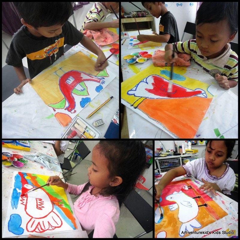 menggunakan water color walaupun menyeronokkan adakala membuatkan kanak kanak frustrated bila hasilnya tidak memuaskan keseronokan nak cuba sesuatu yang
