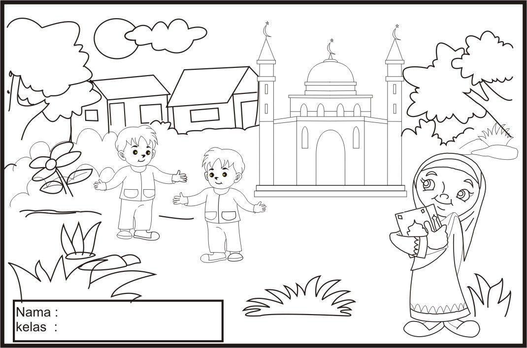 Kertas Mewarna Masjid Menarik Gambar Kartun Muslim Sakit Khazanah islam