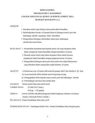 kertas kerja program ihyaa x20ac x2122 ramadhan majlis khatam al quran bubur lambuk 2013 sk bukit bangkong a objektif