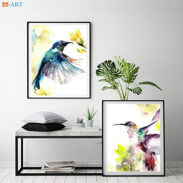 hummingbird prints poster colorful watercolor painting bird wall art canvas painting for kids room home decor framed