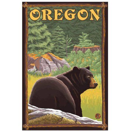 black bear oregon state retro travel poster by eazl premium gallery wrap size 16 x 24 multicolor products forest art national park posters