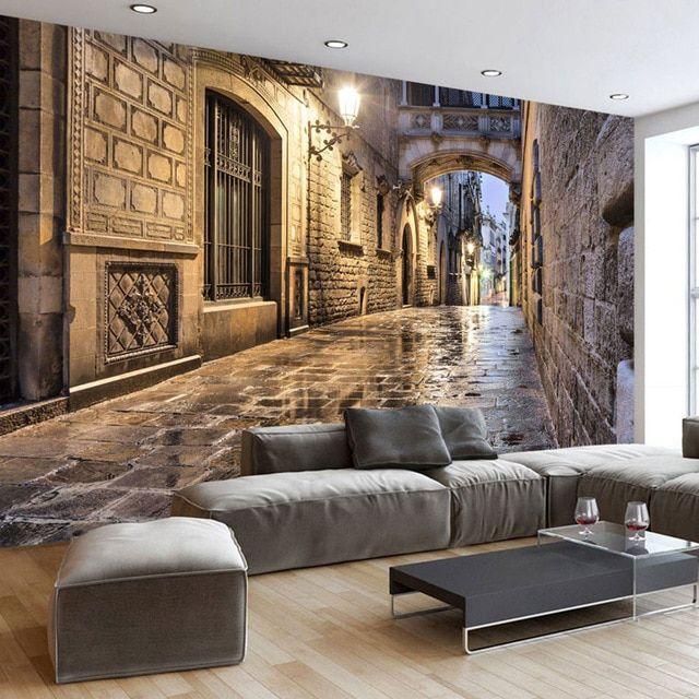 Lukisan 3 Dimensi Sederhana Di Kertas Berguna Vintage Kertas Dinding Street Eropa Foto Wallpaper Mural 3d Dekorasi