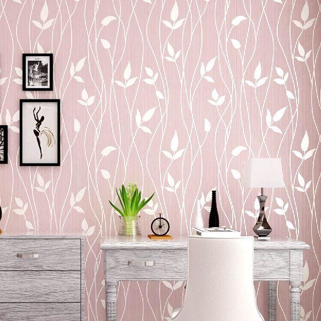 gaya sederhana moderen non woven fresh ringan warna wallpaper untuk dinding romantis 3d daun pastoral