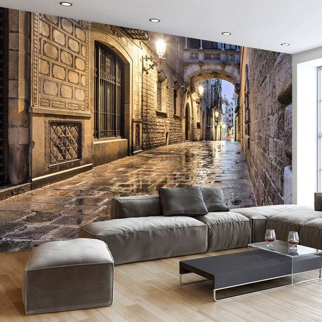 Lukisan 3d Di Kertas Yang Mudah Bernilai Vintage Kertas Dinding Street Eropa Foto Wallpaper Mural 3d Dekorasi