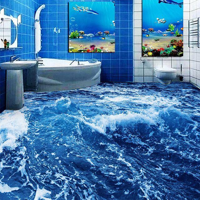ketebalan kertas lukisan meletup minimalis modern air laut 3d lantai lukisan dinding wallpaper kamar