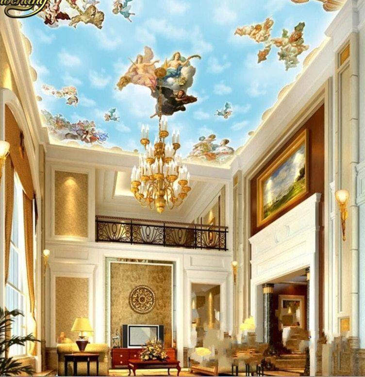 beibehang bukan tenunan dekorasi rumah ktv bar langit langit 3d besar stiker dinding dinding kertas mural