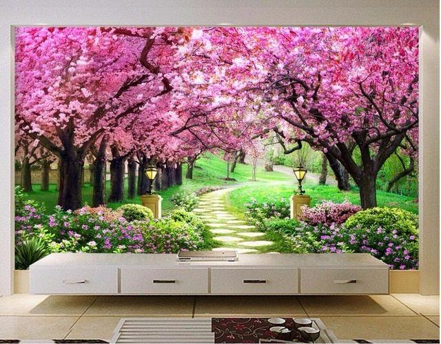 Lukisan 4 Dimensi Di Kertas Baik 3d Wallpaper Kustom Mural Foto Sakura Hutan Kebun Dekorasi Gambar