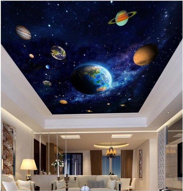 Lukisan 4 Dimensi Di Kertas Power 3d Langit Langit Mural Dinding Kertas Gambar Biru Planet Ruang