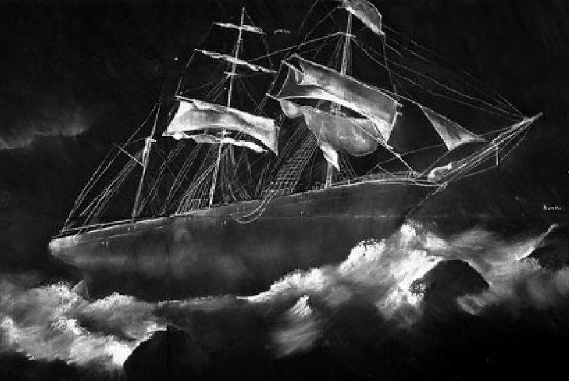 kapal di atas ombak menggunakan media kapur putih di atas kertas hitam