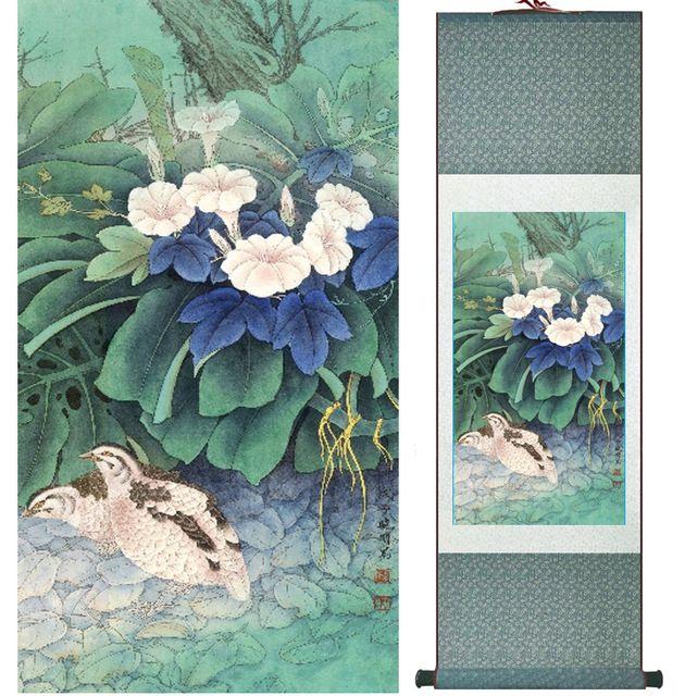 ayam hutan di bawah mencuci lukisan bunga lukisan burung dan bunga lukisan tradisional cina no 32009