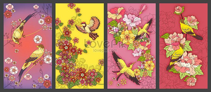 lukisan bunga dan burung
