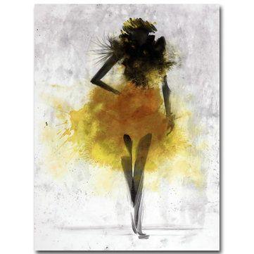Lukisan Pensil 3d Di Kertas Terbaik Busana Gadis Kuning Minimalis Abstrak Seni Kanvas Lukisan Minyak