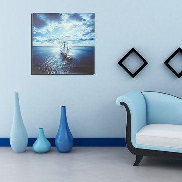 Lukisan Perahu Kertas Baik Perahu Layar Laut Kanvas Gambar Cetak Lukisan Poster Dibingkai