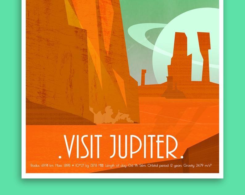 Malaysia Day Poster Terhebat Jupiter Vintage Space Travel Poster Retro Futuristic Sci Fi Etsy