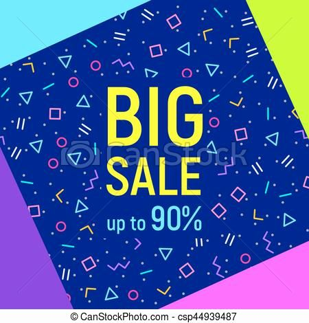 vector abstract elegant big sale geometric background memphis style abstract big sale