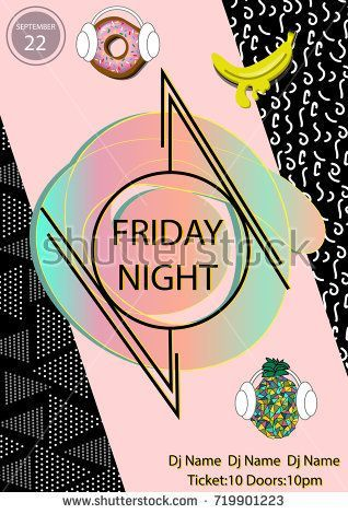 friday night party poster template with geometric objects music dj disco dance event poster pop art vintage memphis style trendy banner with donuts banana