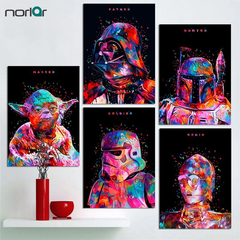 minimalist art print star wars canvas painting poster darth vader stormtrooper movie wall picture print home