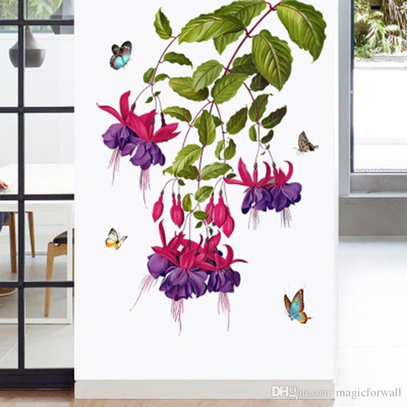 My Poster Wall Bermanfaat butterfly orchid Flower Wall Stickers Door Window Glass Decor