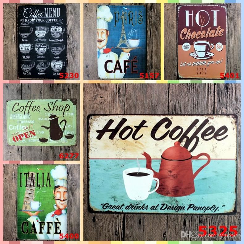 My Poster Wall Bernilai 2019 Hot Coffee Tin Signs 20 30cm Posters Vintage Home Decor Tin